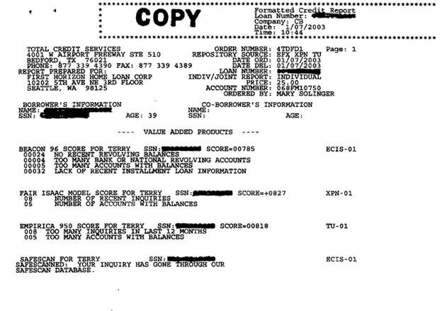 1/7/03 - trimerged mortgage report with the 785 Equifax
