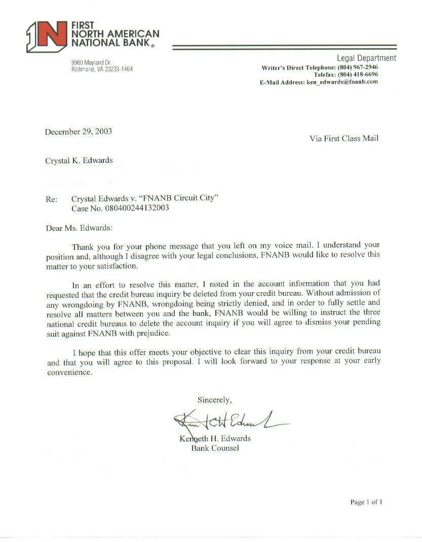12/29/03  - FNANB counsel Kenneth H. Edwards letter