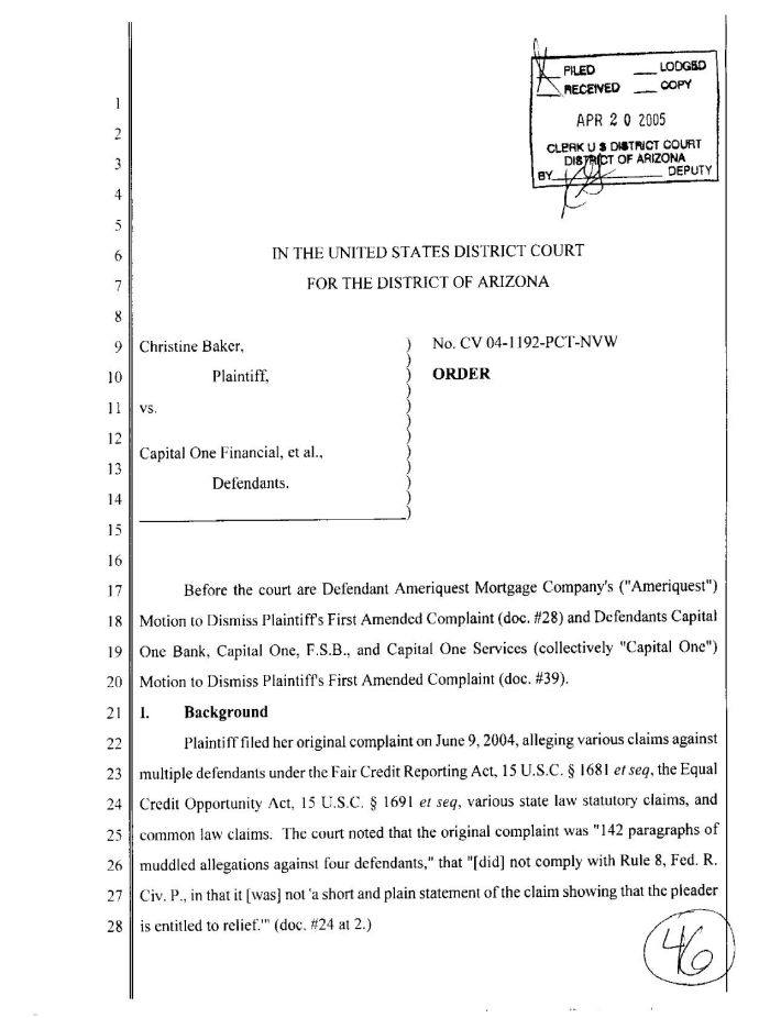 4/20/05 - Court order re. Ameriquest and Capital One p. 1