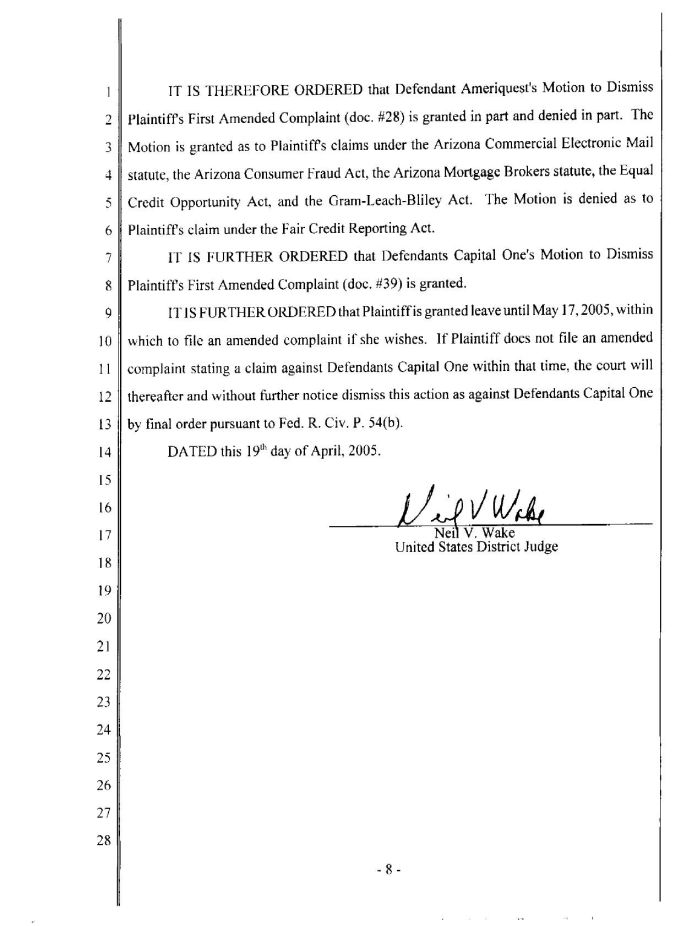 4/20/05 - Court order re. Ameriquest and Capital One p. 8