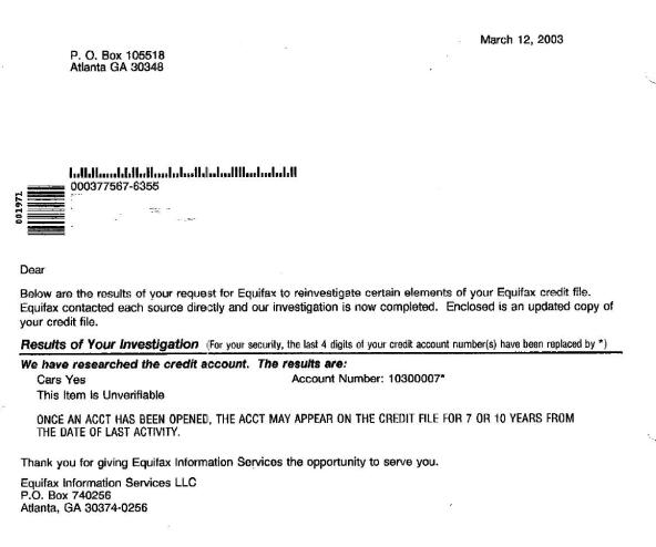 The 3/12/03 Equifax results