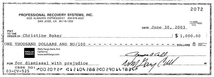 6/30/03 - The $1,000 settlement check